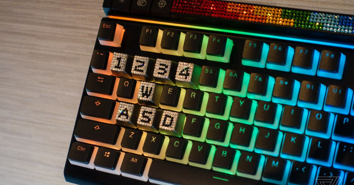 Peak gamer bling achieved with Swarovski-encrusted WASD keys