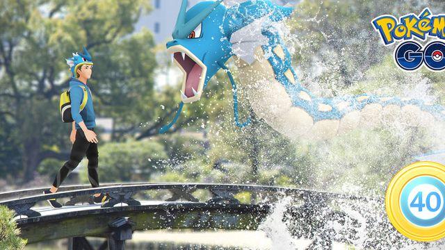 A trainer encounters a Gyarados in artwork from Pokémon Go