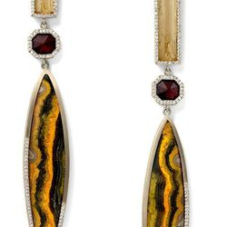 """Baktun"" Jasper, natural garnet and straw topaz navette earrings with white diamond pavé, 18 carat recycled white gold, 0.89 TCW $23,485"