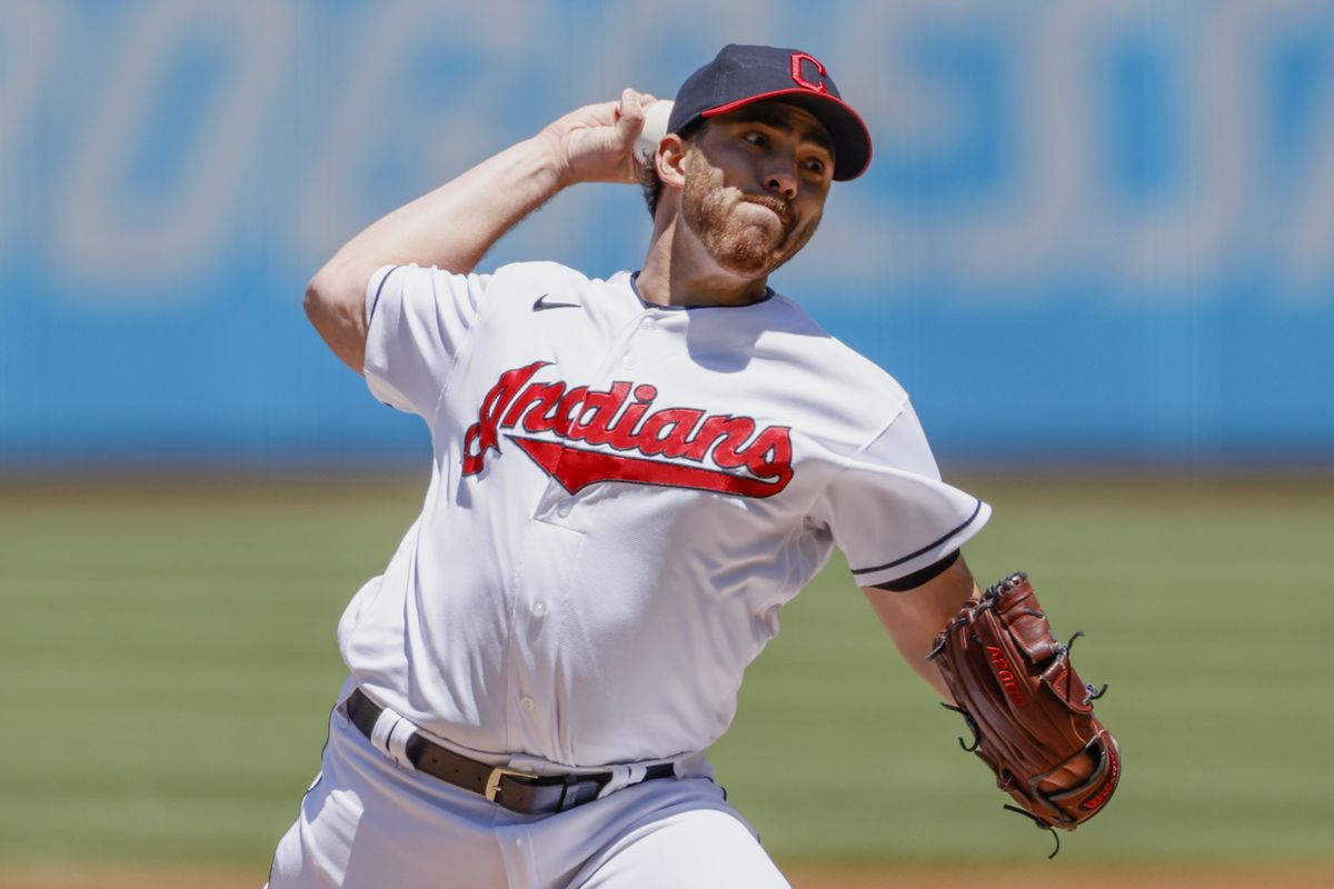 Starting pitcher Aaron Civale #43 of the Cleveland Indians pitches against the Toronto Blue Jays in the first inning during game one of a doubleheader at Progressive Field on May 30, 2021 in Cleveland, Ohio.