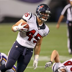 Aug 9, 2013; Minneapolis, MN, USA; Houston Texans fullback Zach Boren (45) runs with the ball in the second half against the Minnesota Vikings at the Metrodome. The Texans won 27-13.