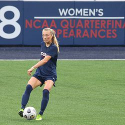 UConn's Chloe Landers #2 during the UMass Minutewomen vs the UConn Huskies at Morrone Stadium at Rizza Performance Center in an exhibition women's college soccer game in Storrs, CT, Monday, August 9, 2021.