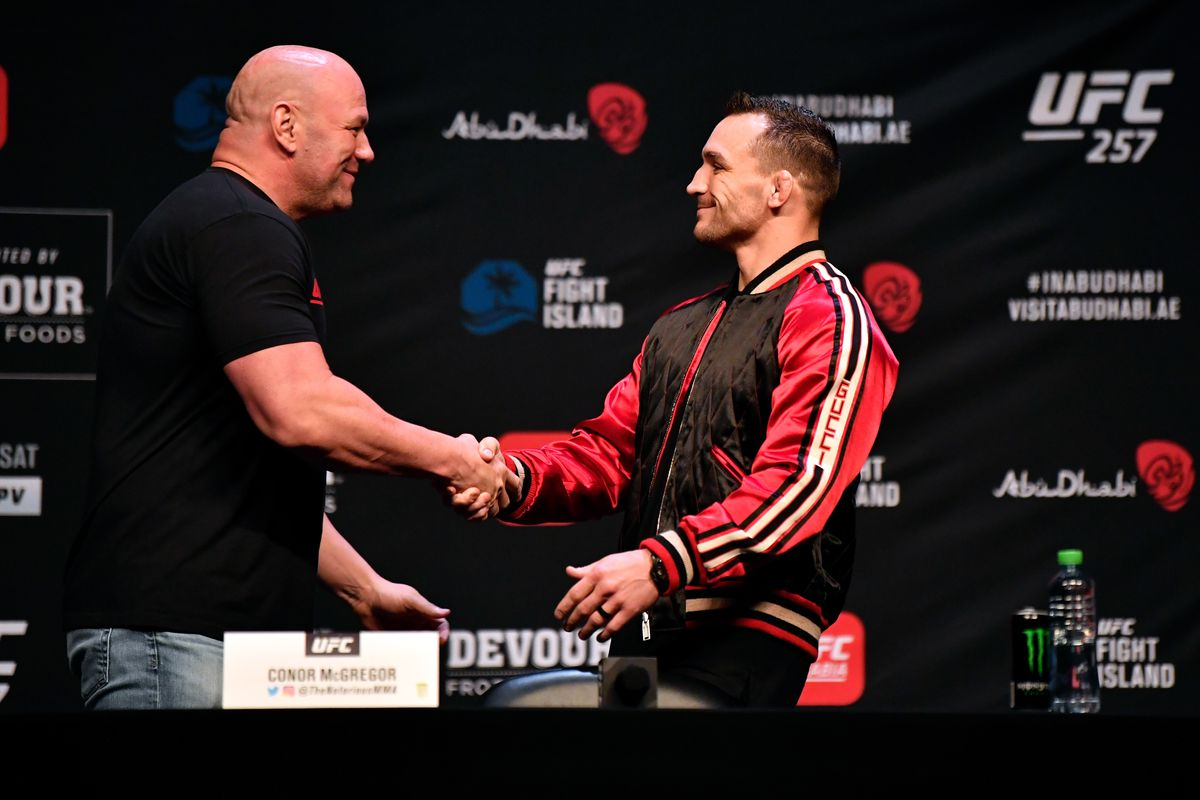 Michael Chandler and UFC president Dana White at the UFC 257 presser.