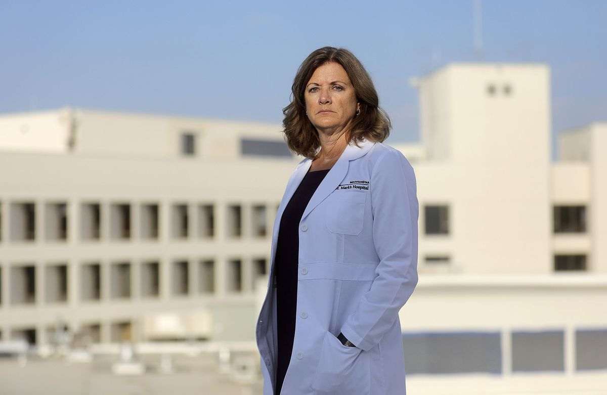 Nicki Roderman, St. Mark's Hospital chief nursing officer, poses for a portrait on the roof of St. Mark's Hospital in Millcreek on Thursday, Sept. 23, 2021.