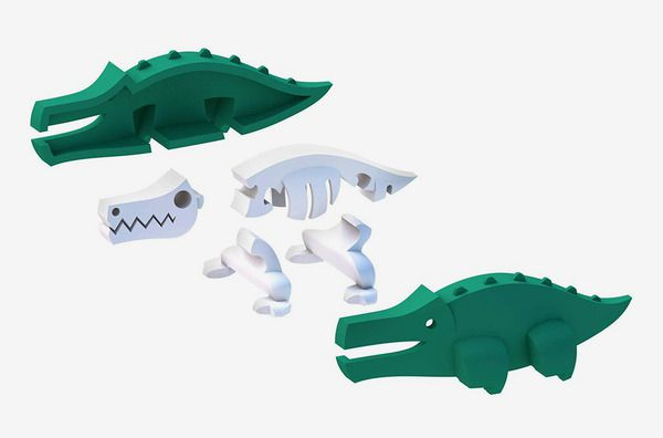 A deconstructed HalfToys crocodile and skeleton