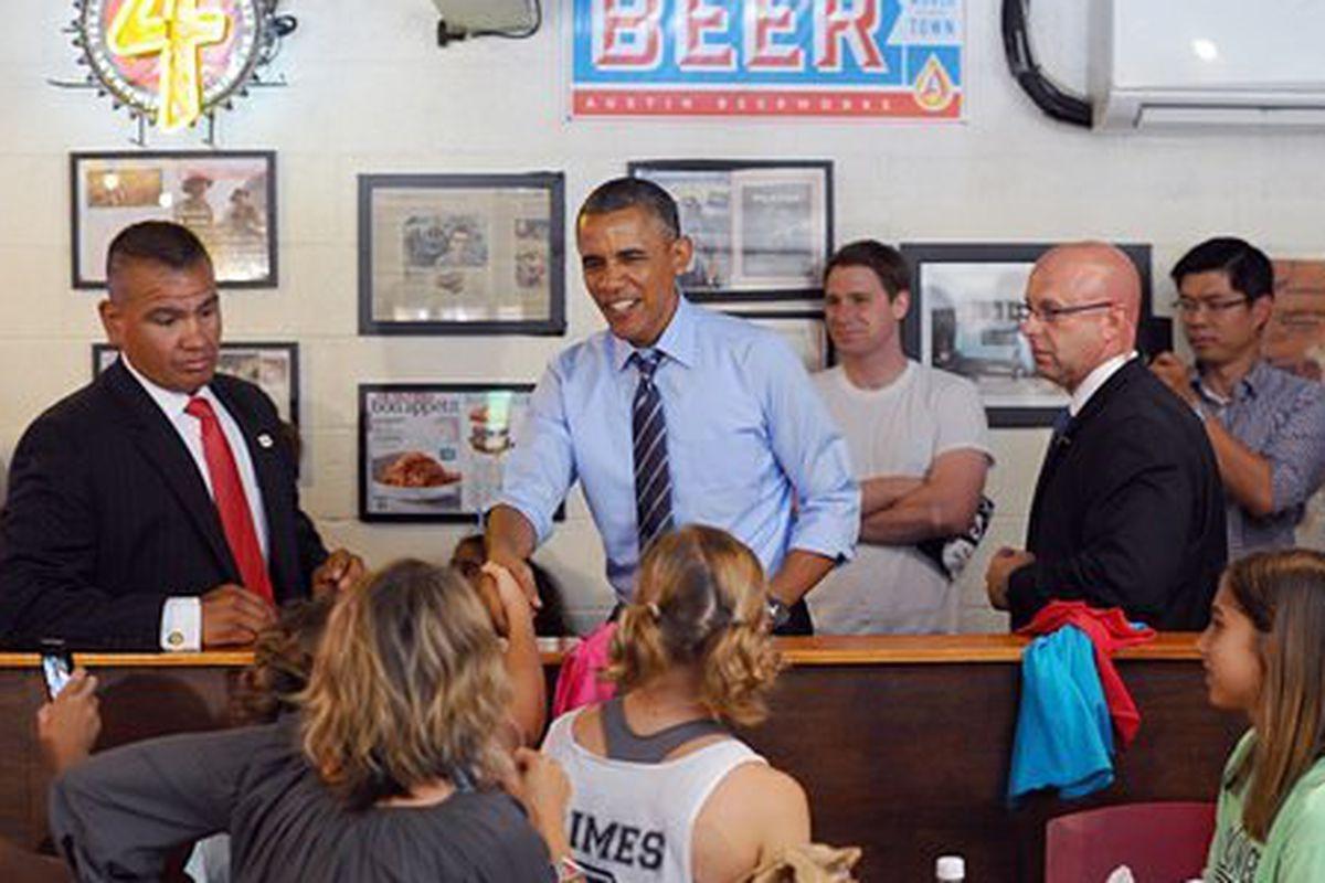 President Obama at Franklin Barbecue