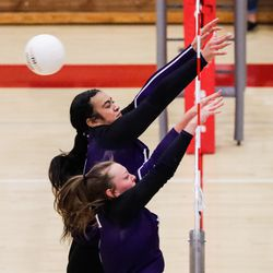 Bountiful and Lehi compete during a high school 5A volleyball quarterfinal at Bountiful High School in Bountiful on Thursday, Nov. 5, 2020.