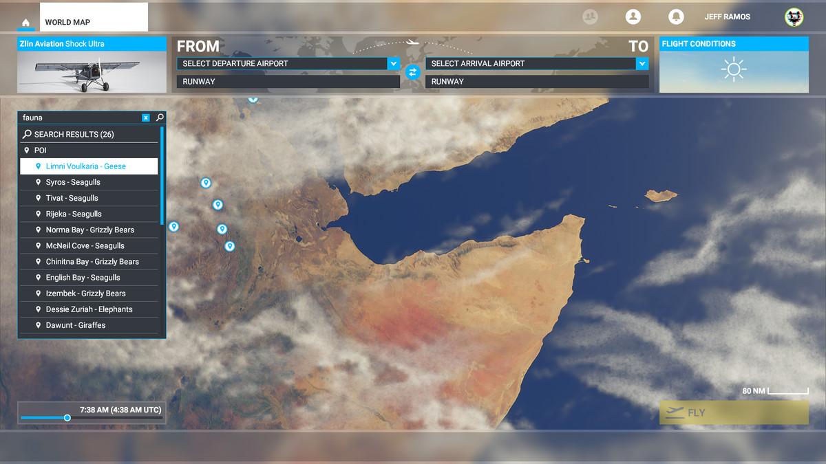 Searching for fauna in Microsoft Flight Simulator