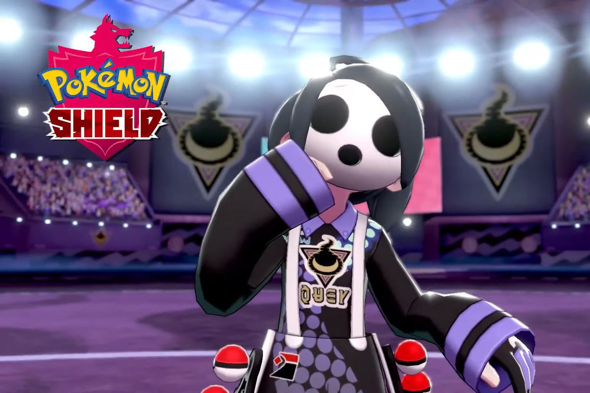 Allister from Pokémon Shield poses spookily