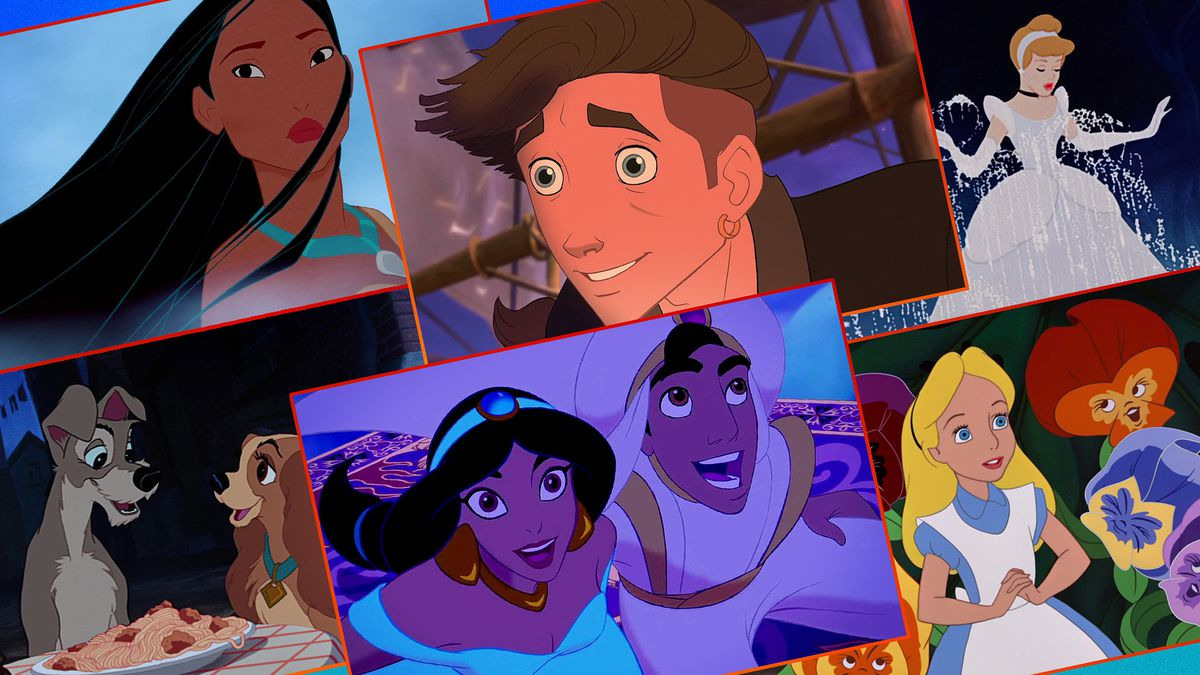 Graphic illustration featuring stills from Disney animation movies: Pocahontas, Treasure Planet, Cinderella, Lady and the Tramp, Aladdin, and Alice in Wonderland.