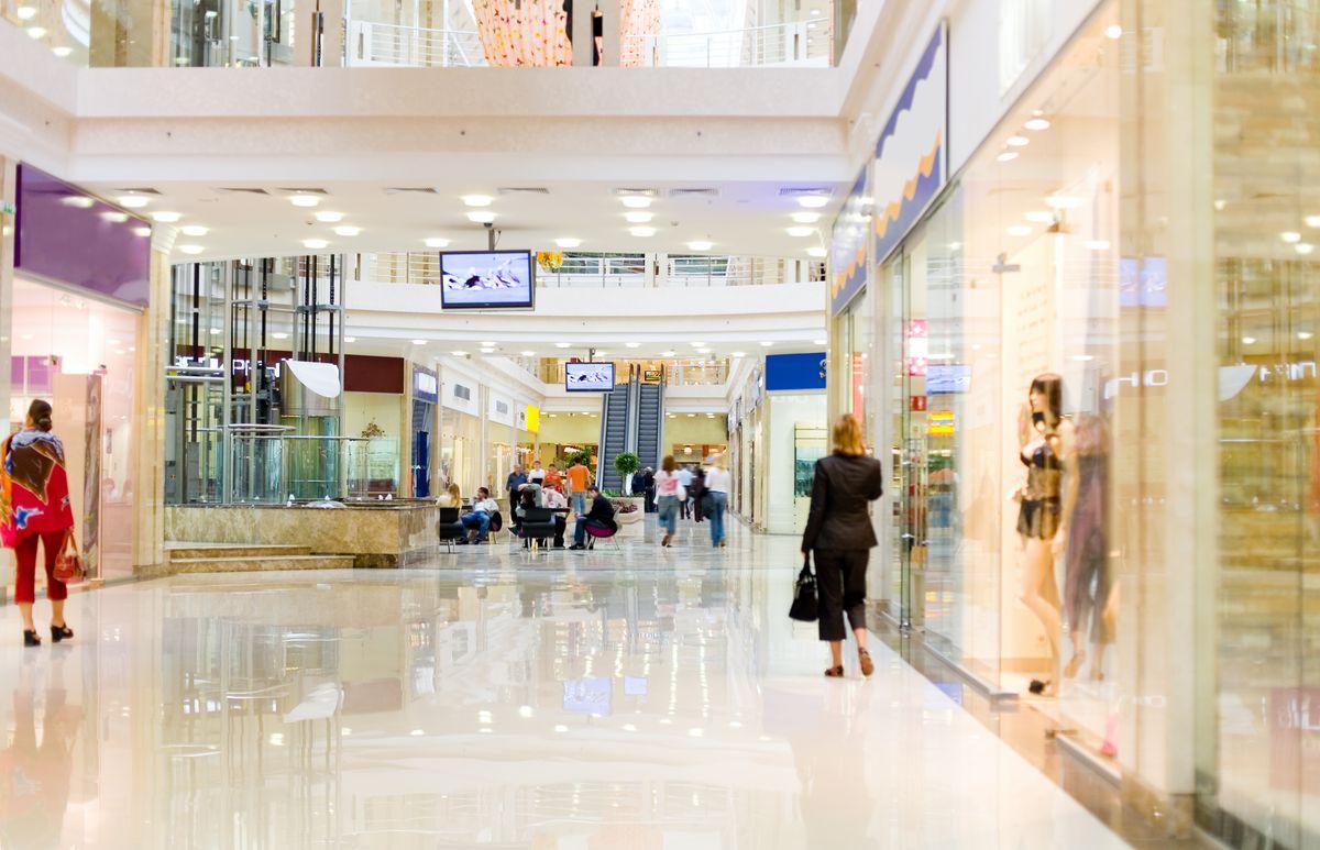 A near-empty shopping mall.