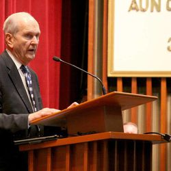 Elder Russell M. Nelson speaks at Benemerito de las Americas, an LDS Church-owned high school in Mexico City that will be turned into the church's second-largest Missionary Training Center in July.