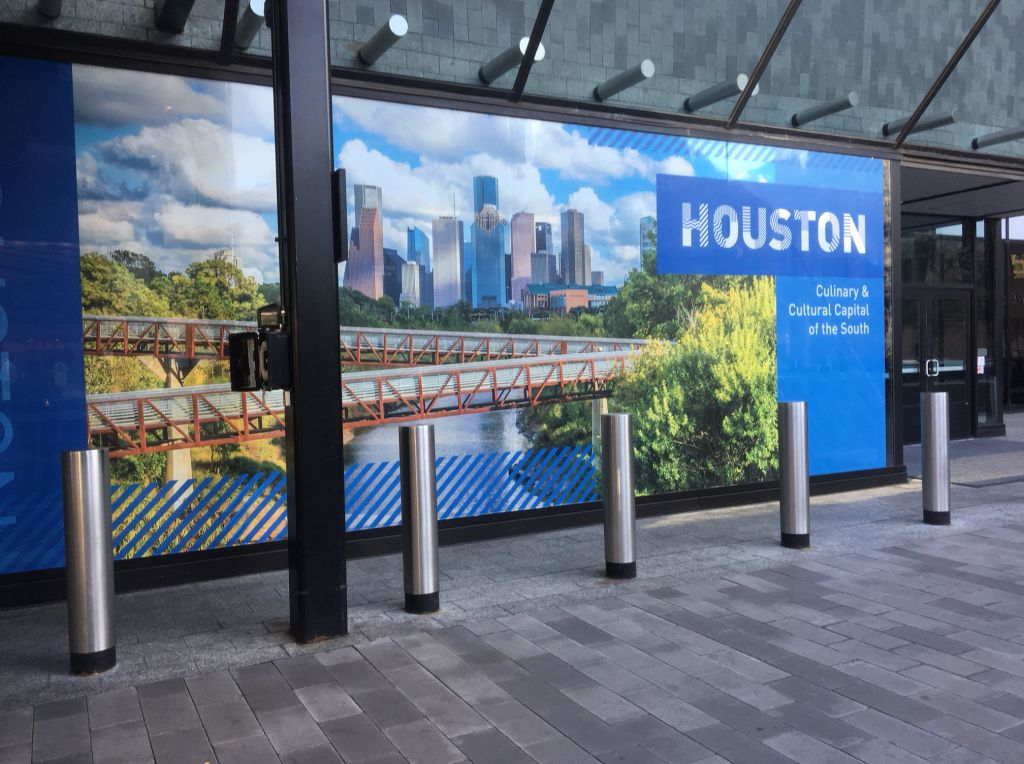 An ad at the DNC summer meeting in Chicago touting Houston for selection as the 2020 Democratic National Convention site. | Lynn Sweet/Sun-Times