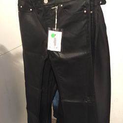 Acne leather pants, $600 (from $1,200)