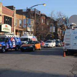 5:45 p.m. Media trucks parked on Sheffield -