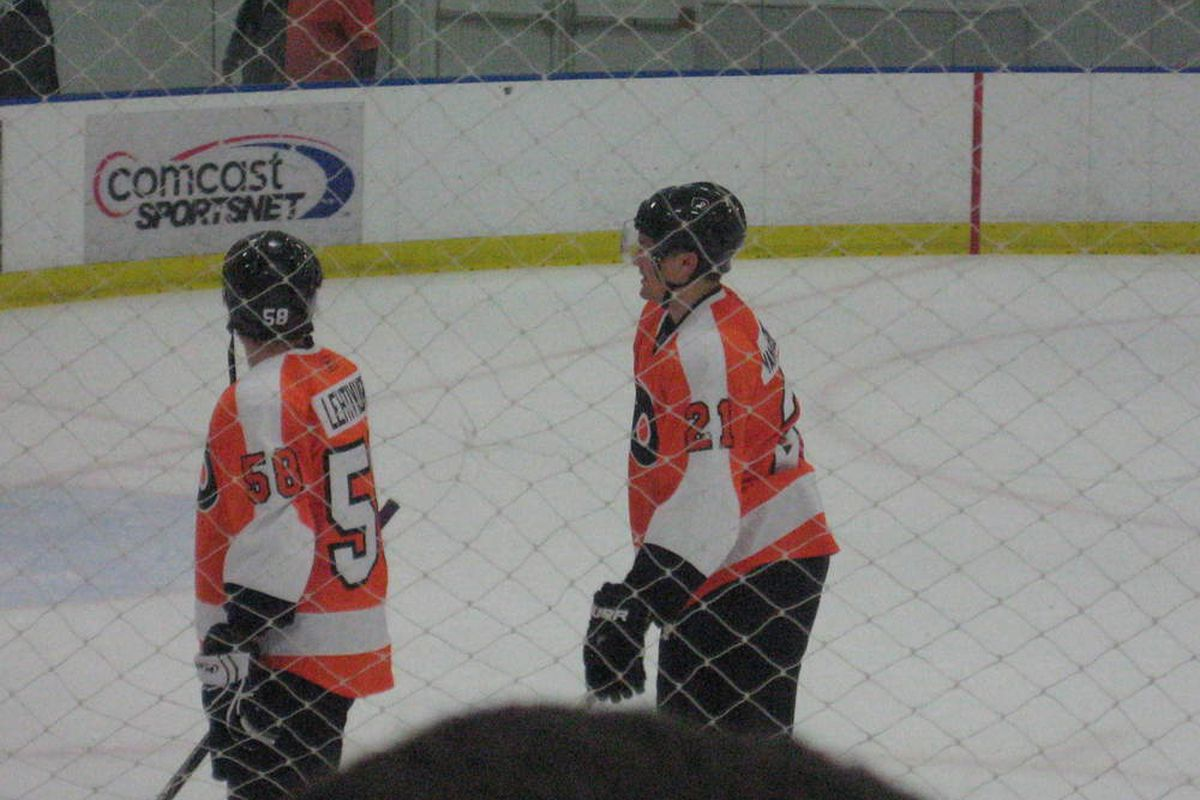 Joonas Lehtivuori with James van Riemsdyk after the Flyers Rookie Game on September 11th, 2009.