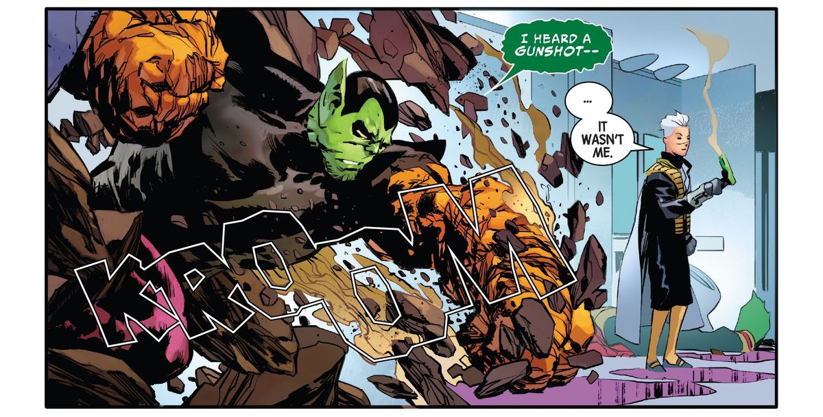 """""""I heard a gunshot—"""" says the Super-Skrull as he punches through the wall of a space bathroom. """"... It wasn't me,"""" says Marvel Boy, as he literally holds a smoking gun, in Guardians of the Galaxy #7, Marvel Comics (2020)."""
