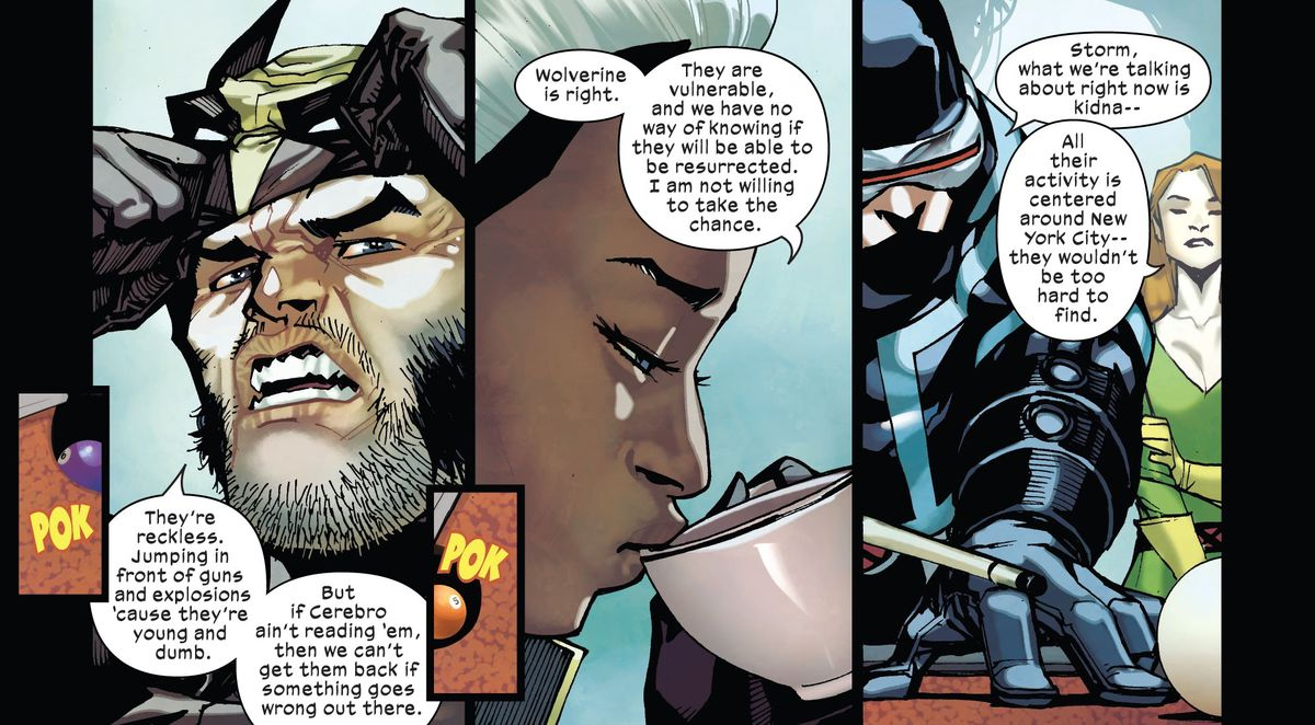 Storm sips from a teacup, Cyclops plays pool, and Wolverine pulls off his mask as the X-Men discuss the Children of the Atom. The panels are interspersed with smaller images of pool balls bouncing around with a POK, in Children of the Atom #1, Marvel Comics (2021).