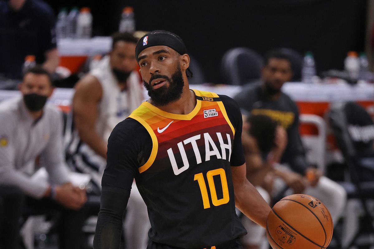 Mike Conley of the Utah Jazz dribbles the ball against the Memphis Grizzlies during Round 1, Game 2 of the 2021 NBA Playoffs on May 26, 2021 at vivint.SmartHome Arena in Salt Lake City, Utah