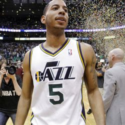 Utah Jazz guard Devin Harris (5) walks off the floor after the Jazz defeat the Phoenix Suns play Tuesday, April 24, 2012 in Energy Solutions arena 100-88.