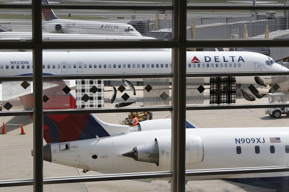 FILE - In this Monday, Aug. 8, 2016, file photo, Delta Air Lines planes are parked at Ronald Reagan Washington National Airport, in Washington. A bogus pet-shipping website that tricks people into thinking they're dealing with Delta Air Lines is also link