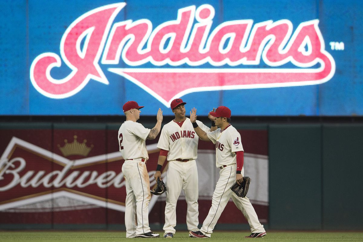 The Indians have had success developing center fielders such as Michael Brantley (pictured, center), is Luigi Rodriguez next in line?(Photo by Jason Miller/Getty Images)