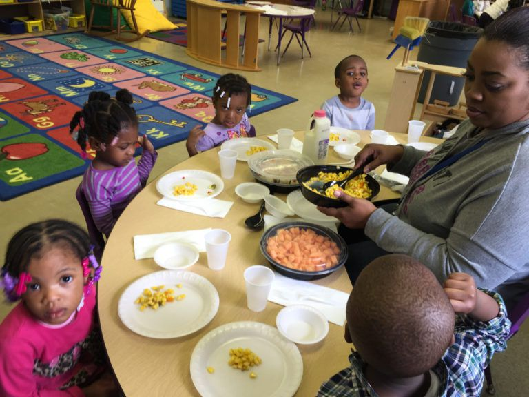 At the Winston Development Centers Head Start, nutritious meals are served family style. (Erin Einhorn/Chalkbeat)