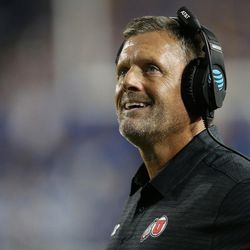 Utah Utes head coach Kyle Whittingham watches the clock near the end of the game with BYU in Provo on Saturday, Sept. 9, 2017. Utah won 19-13.