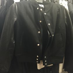 Oak wool and leather varsity jacket in size large, $192 (was $480)