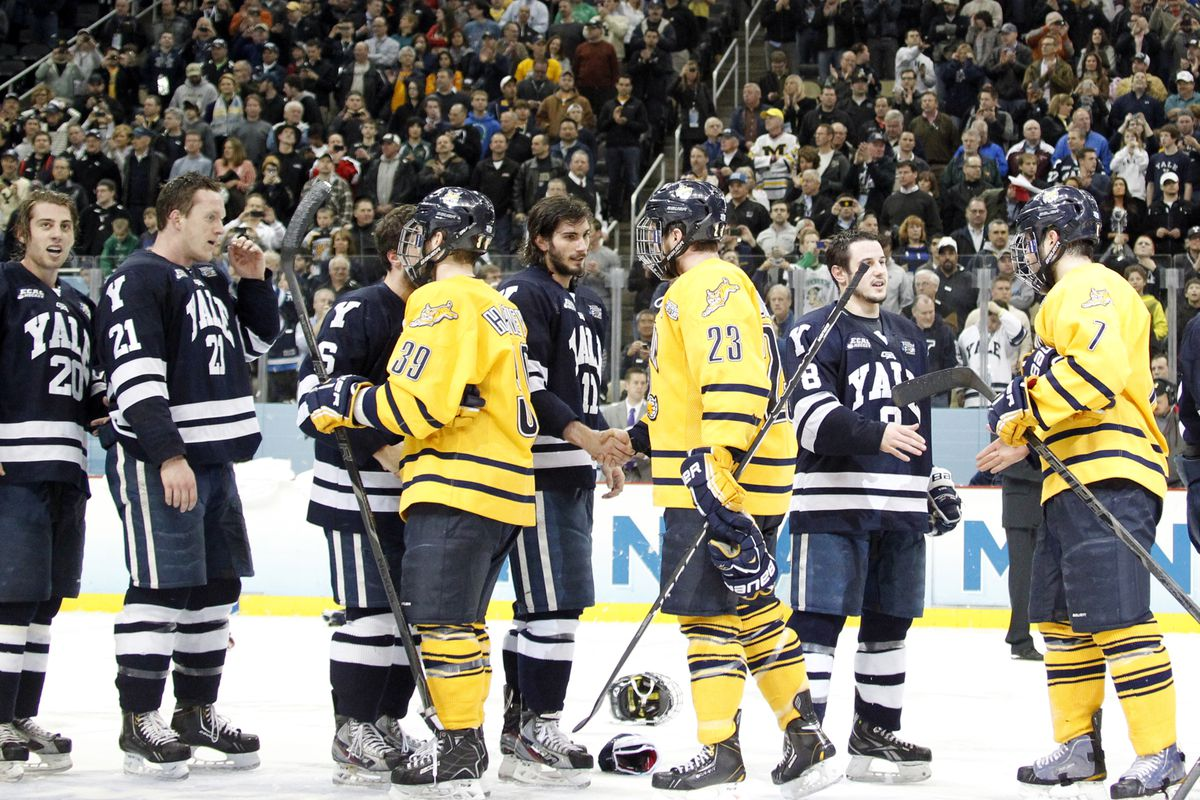 Yale came out on top in April in the NCAA Championship Game in Pittsburgh. Quinnipiac hosts the Bulldogs Saturday night at 7 p.m.
