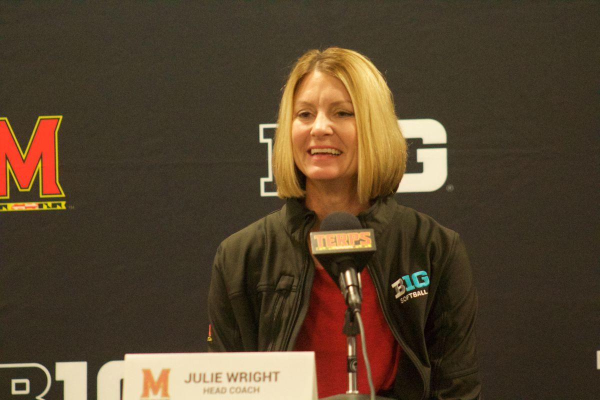 Maryland softball coach Julie Wright speaks at spring sports media day.