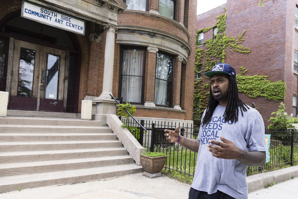 """Urban historian Shermann """"Dilla"""" Thomas talks about his South Side upbringing outside of the South Side Community Art Center at 3831 S. Michigan Ave."""