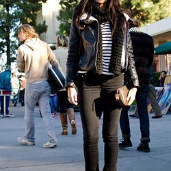 """<a href=""""http://la.racked.com/archives/2011/01/11/diana_at_the_melrose_trading_post.php"""" rel=""""nofollow"""">Diana</a>'s scarf is Calvin Klein, the jacket is from H&M, her jeans are by Acne, the tee is Gina Tricot, the boots are from Forever 21, and her ba"""