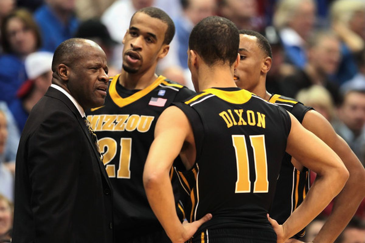 LAWRENCE KS - FEBRUARY 07:  Head coach Mike Anderson of the Missouri Tigers talks with players during the game against the Kansas Jayhawks on February 7 2011 at Allen Fieldhouse in Lawrence Kansas.  (Photo by Jamie Squire/Getty Images)