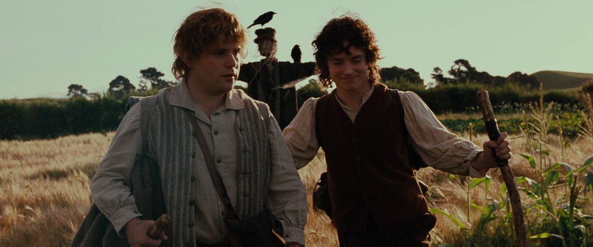 Con Frodo, Sam da sus primeros pasos fuera de la Comarca en The Fellowship of the Ring.