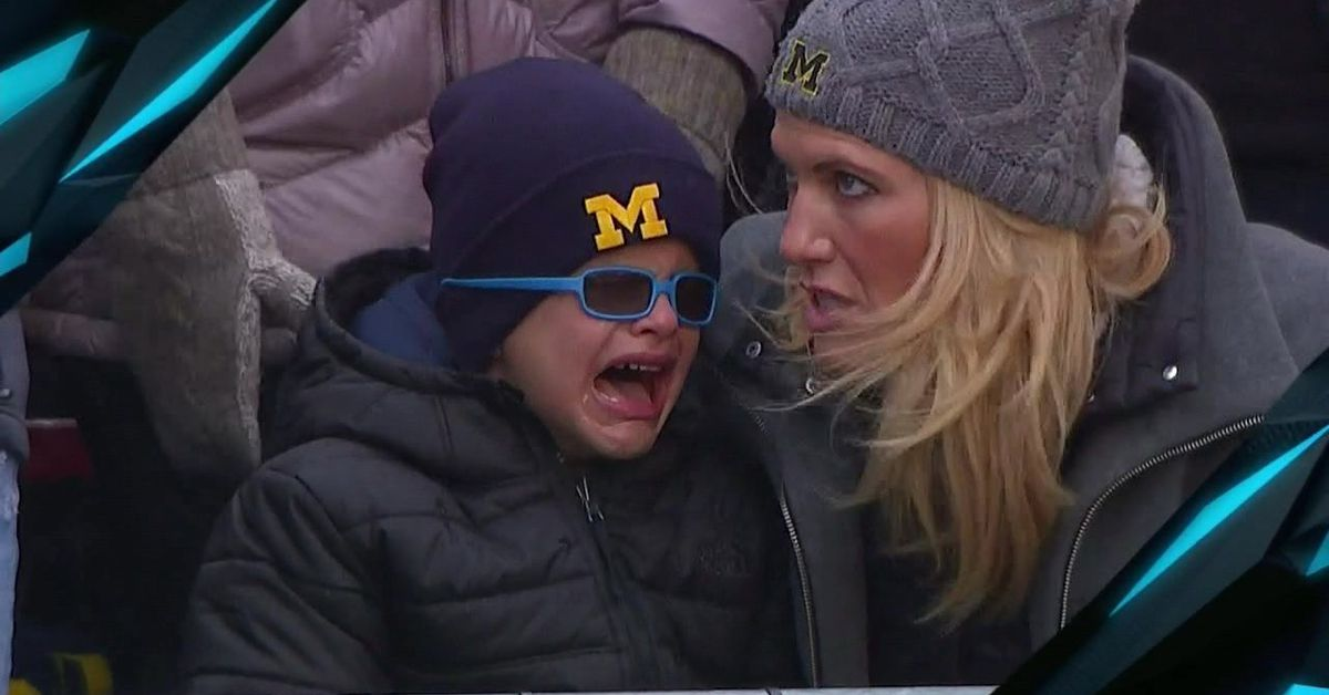 Michigan Vs Wisconsin Jim Harbaughs Son Crying Has Been