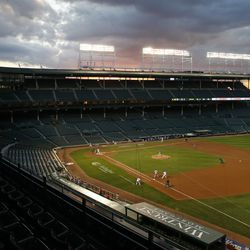 The Cubs and Cardinals play in an empty Wrigley Field, August 17
