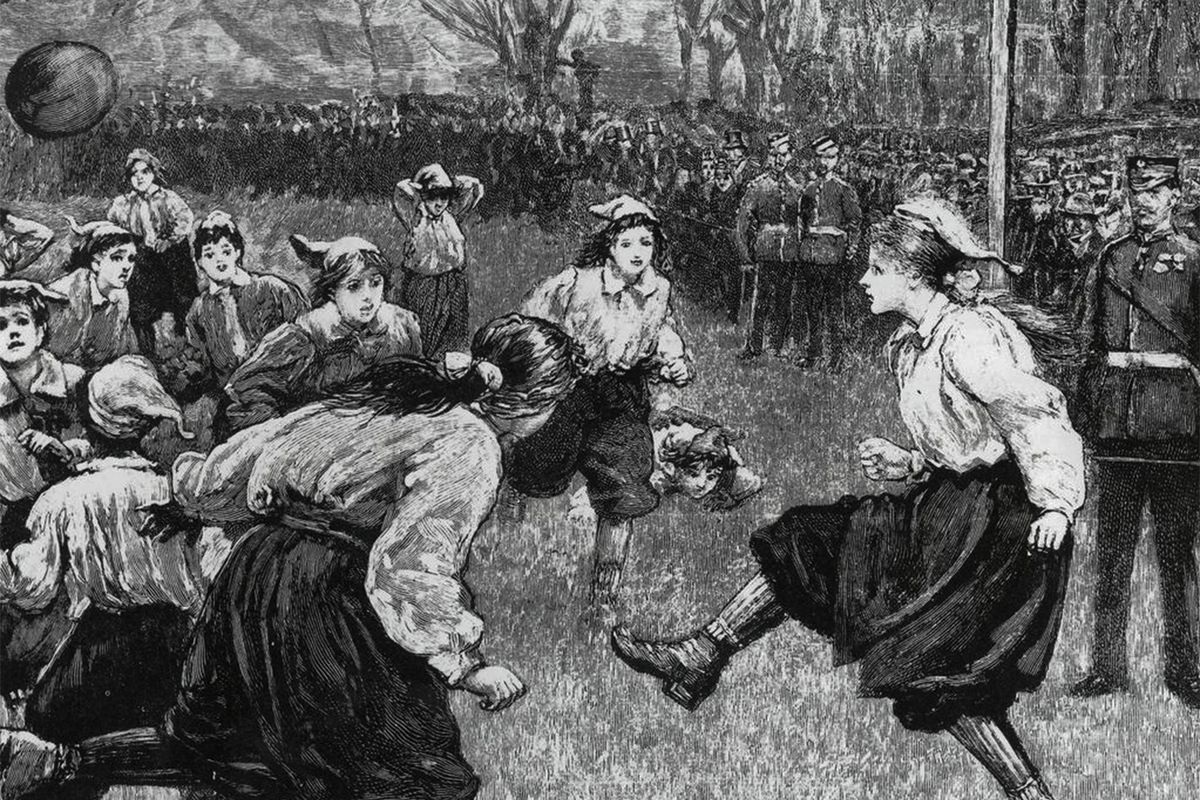 An illustration of the first official international women's soccer match in 1895.