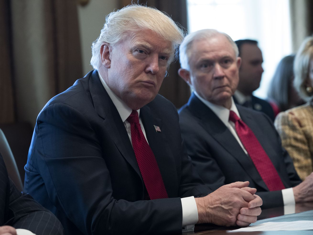 President Donald Trump and Attorney General Jeff Sessions in a panel discussion on opioid and drug abuse in March 2017.