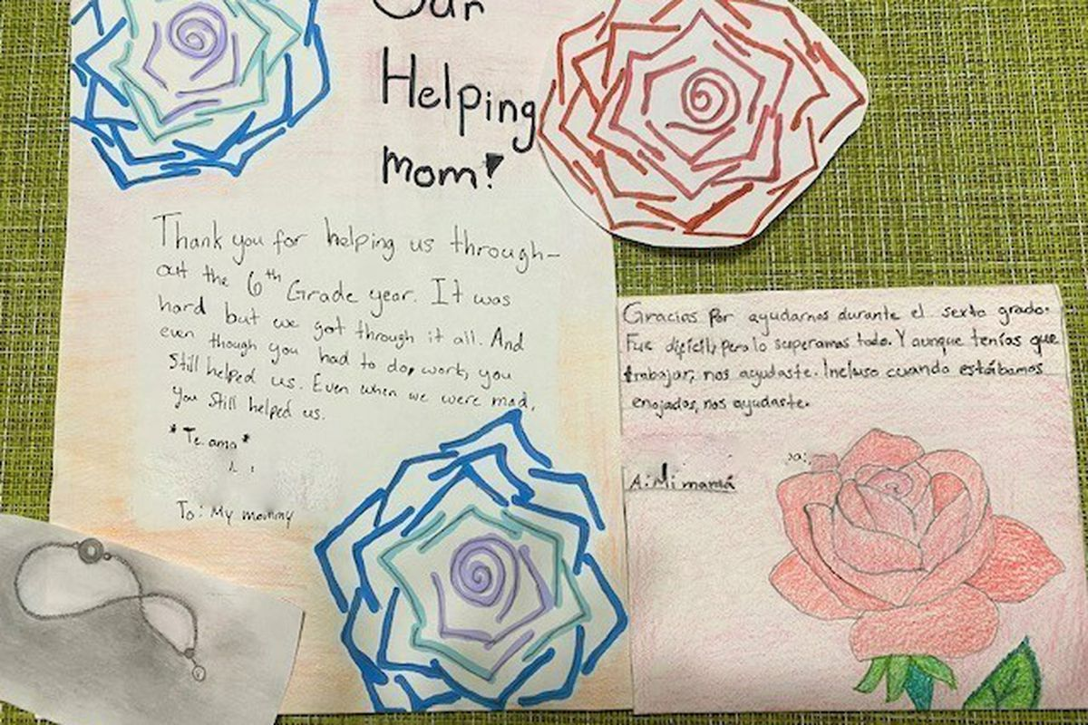 """Cards with flower drawings on them titled """"Our Helping Mom!"""" thank their mother for all of her help over their school years."""