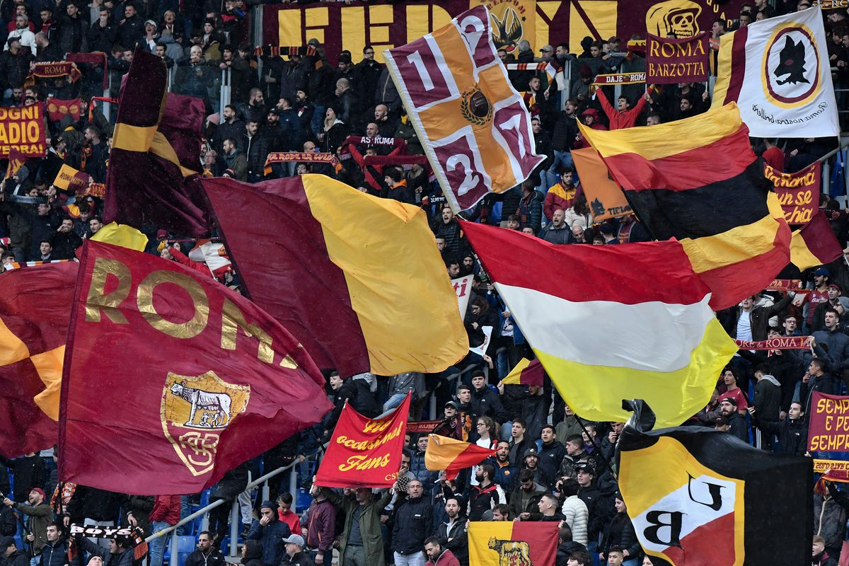AS Roma fans cheer on ahead of the Serie A football match...