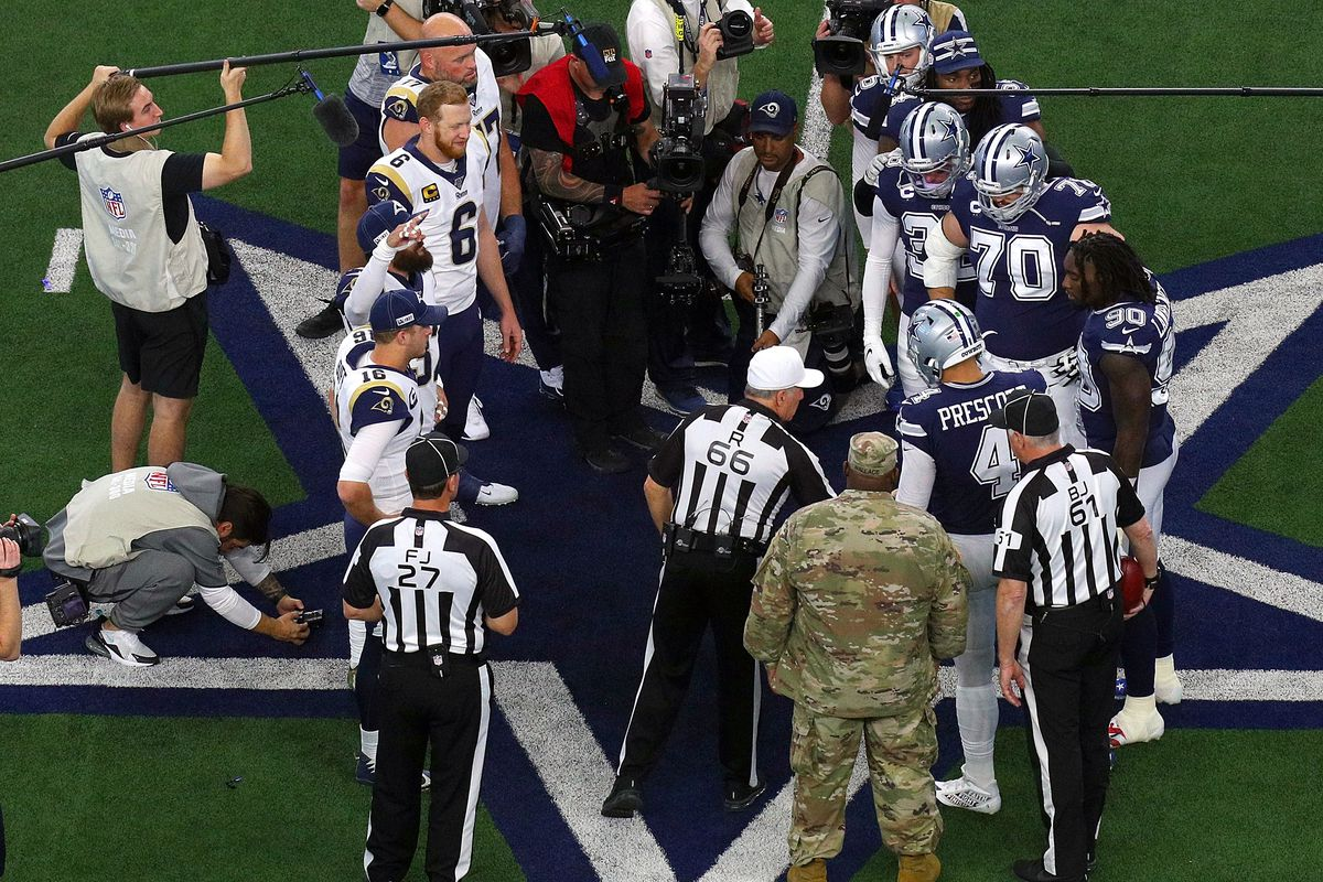 The Los Angeles Rams and the Dallas Cowboys participate in the coin toss before the game at AT&T Stadium on December 15, 2019 in Arlington, Texas.