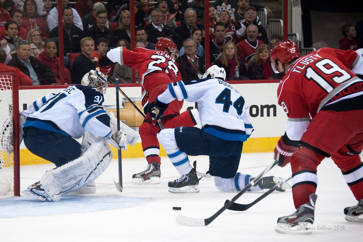 Alexander Semin's behind-the-back pass found a wide open Jiri Tlusty for Carolina's first goal of the night.
