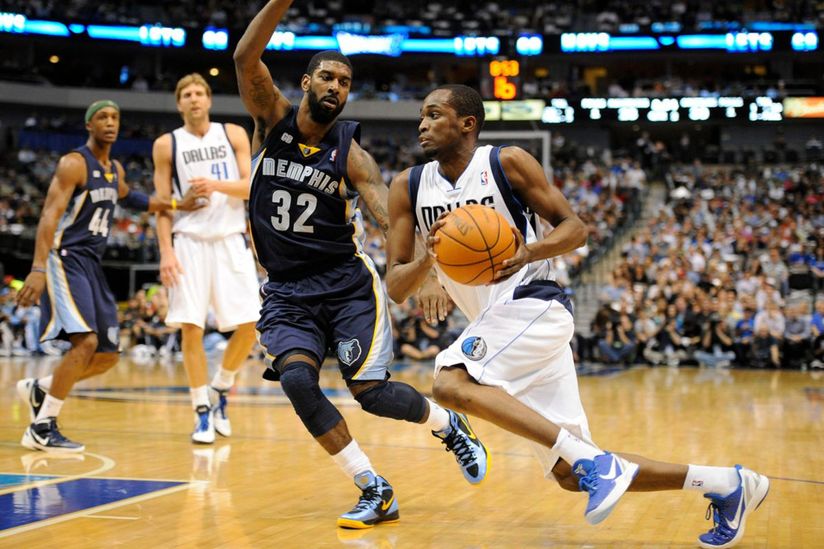 Apr 4, 2012; Dallas, TX, USA; Dallas Mavericks guard Rodrigue Beaubois (3) drives the ball past Memphis Grizzlies shooting guard O.J. Mayo (32) during the second quarter at the American Airlines Center. Mandatory Credit: Jerome Miron-US PRESSWIRE