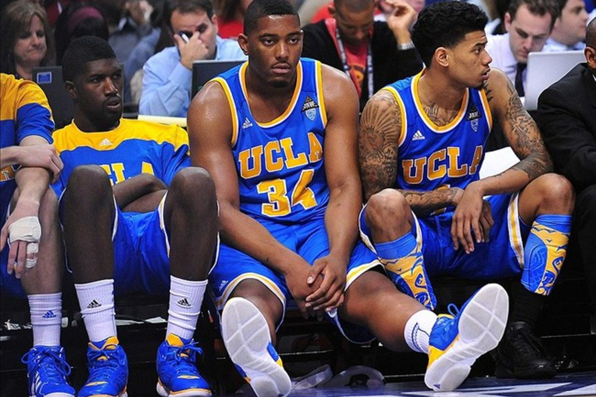 How UCLA Coach Ben Howland deals with these three players (l-r Stover, Smith and Lamb) and the other returning upperclassman, will decide UCLA success next year.  Mandatory Credit: Gary A. Vasquez-US PRESSWIRE