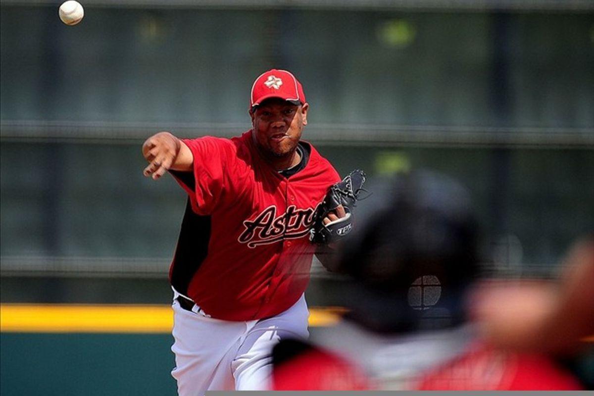 Mar. 3, 2012; Kissimmee, FL, USA; Houston Astros starting pitcher Livan Hernandez (61) pitches against the Washington Nationals at Osceola County Stadium. Mandatory Credit: Andrew Weber-US PRESSWIRE