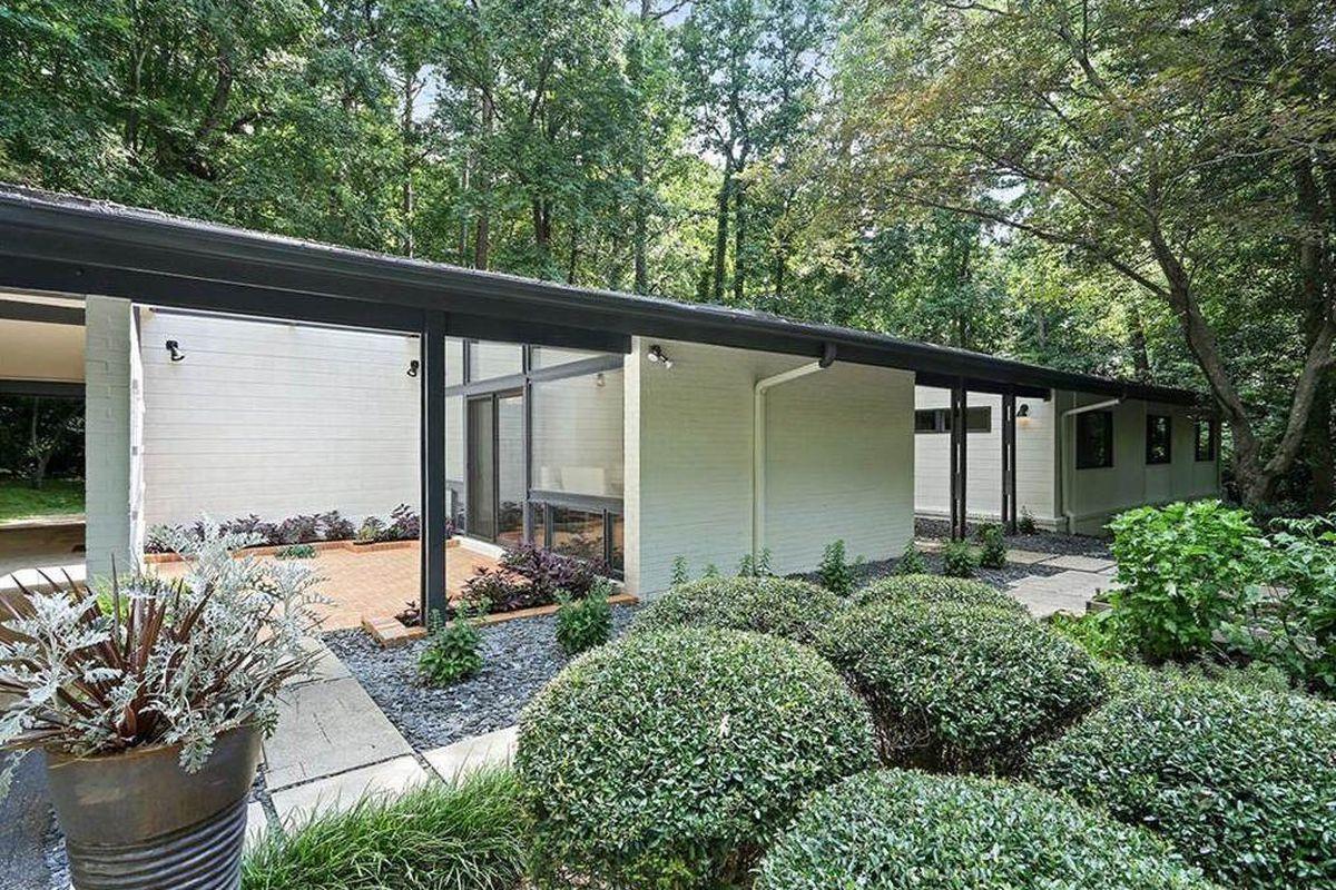 A midcentury modern home for sale in Atlanta's Buckhead neighborhood.