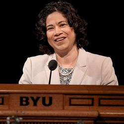 Sister Reyna I. Aburto, second counselor in the Relief Society general presidency, speaks at the BYU Women's Conference in the Marriott Center in Provo on Friday, May 5, 2017.