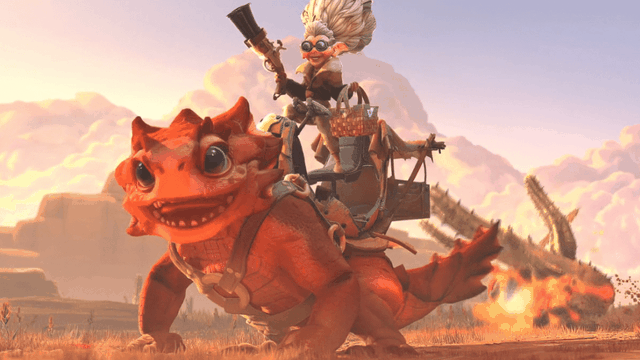 Dota 2 - a still frame of Snapfire, an upcoming Dota 2 hero, on her lizard mount. Snapfire is a smaller older woman with goggles and a large bun of hair. Her lizard mount is a red, friendly looking good boy.