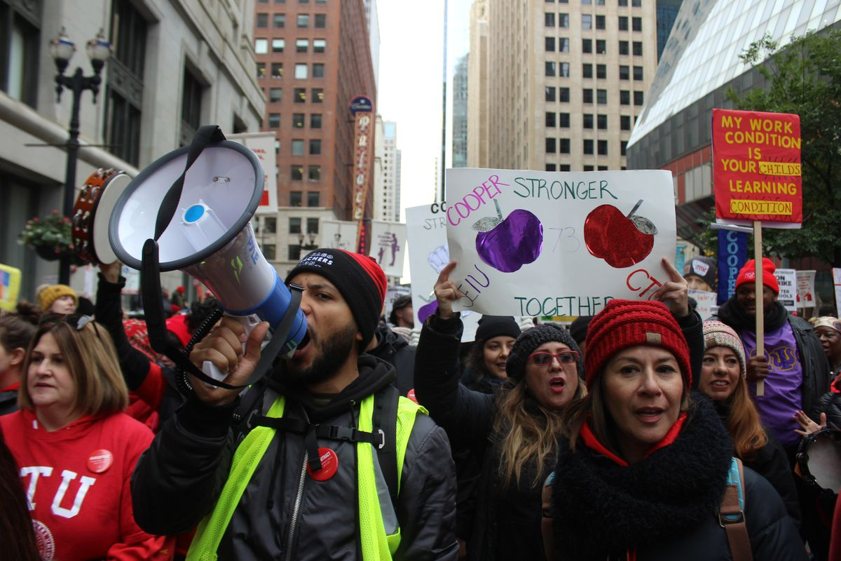 Thousands of educators and CPS support staff flooded Chicago streets near City Hall for a strike rally on the fifth day of teacher walkouts.